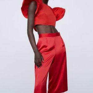 Zara set Red Ruffled sleeve Top & Satin Shorts set